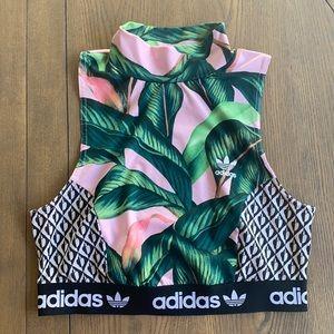 Adidas x Farm Rio Palm Leaf Crop Top